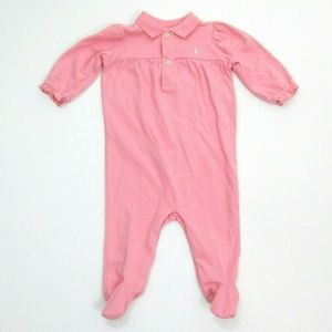 Ralph Lauren Pink Polo One Piece Footed Sleeper